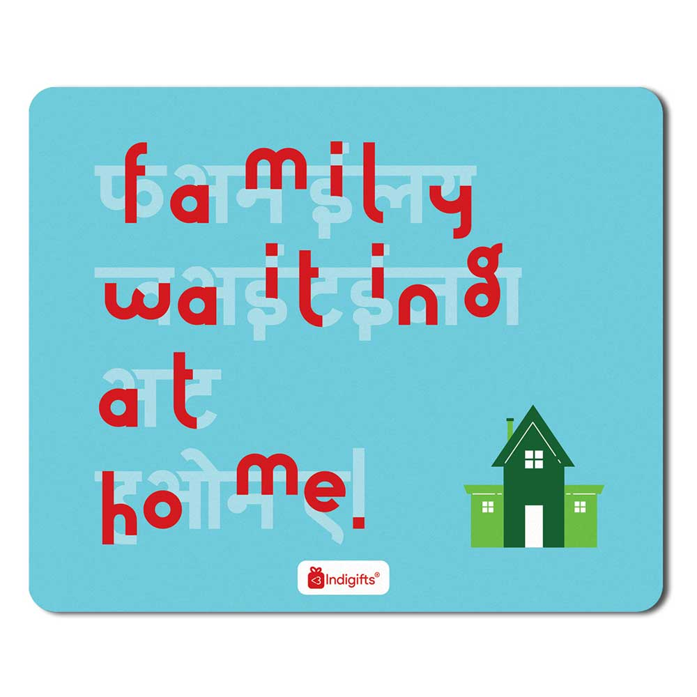 Family Waiting At Home Blue Mouse Pad