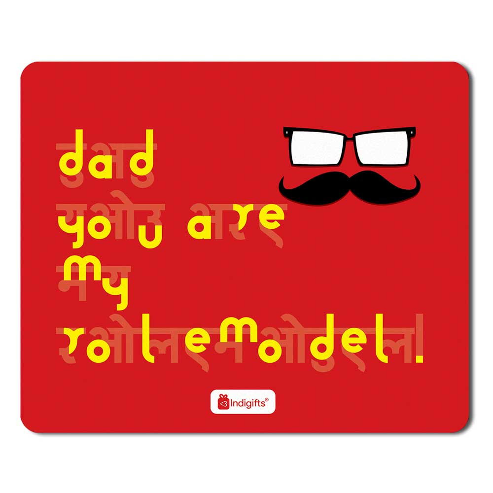 Indigifts Father's Face Illustration Red Mouse Pad
