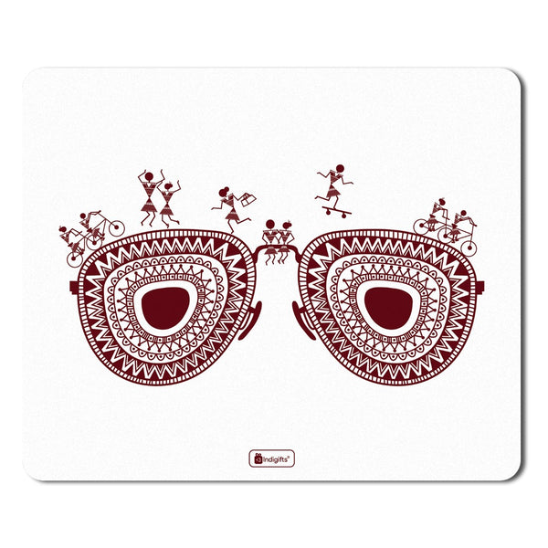 Decor for Living Room  Printed White Mouse Pad  8.5x7 inches | Ethnic Printed Items, House Warming Gift Items, Printed Mouse Pad