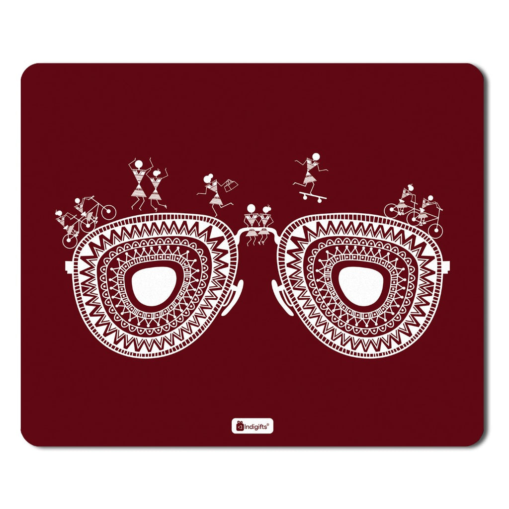 Indigifts Ethnic Digital Print Items  Printed Maroon Mouse Pad  8.5x7 inches | India Souvenir Gifts, Gift Items For Diwali, Mousepad for Laptop