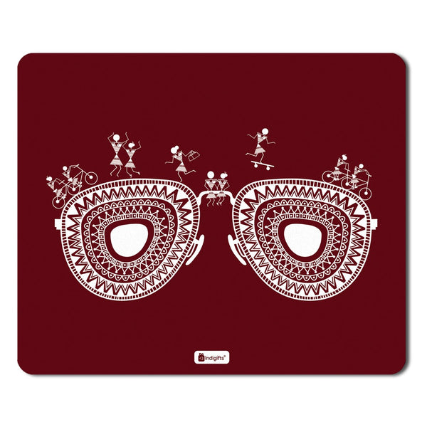 Ethnic Digital Print Items  Printed Maroon Mouse Pad  8.5x7 inches | India Souvenir Gifts, Gift Items For Diwali, Mousepad for Laptop