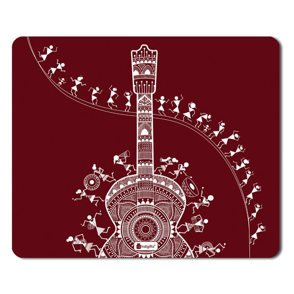 Decor for Living Room  Printed Maroon Mouse Pad  8.5x7 inches | Ethnic Printed Items, House Warming Gift Items, Mousepad for Gift