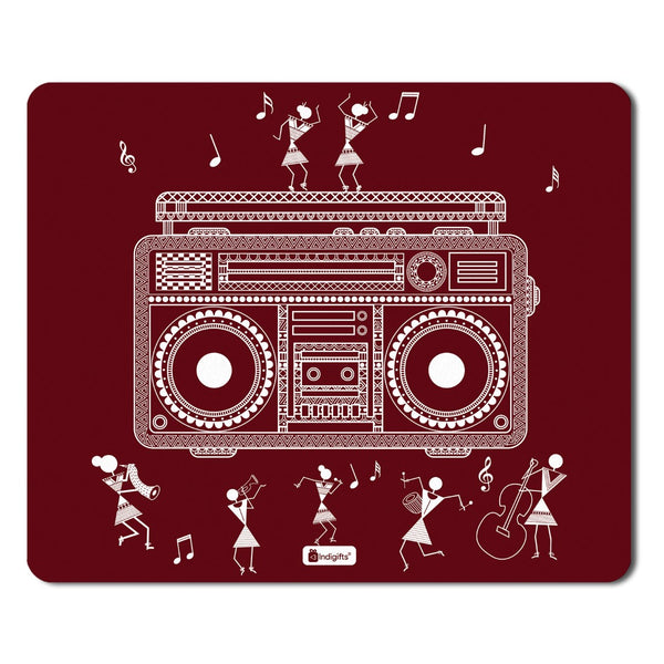 Ethnic Digital Print Items  Printed Maroon Mouse Pad  8.5x7 inches | India Souvenir Gifts, Gift Items For Diwali, Mousepad for Gift