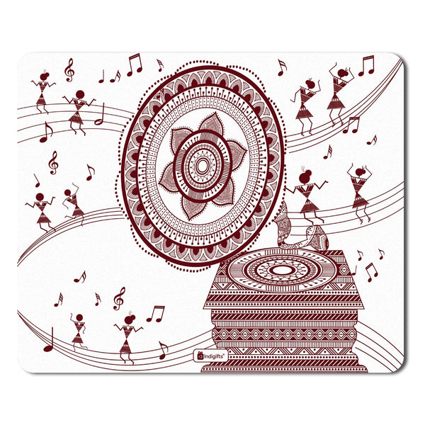 Ethnic Digital Print Items  Printed White Mouse Pad  8.5x7 inches | India Souvenir Gifts, Gift Items For Diwali, Ethnic Print Mousepad