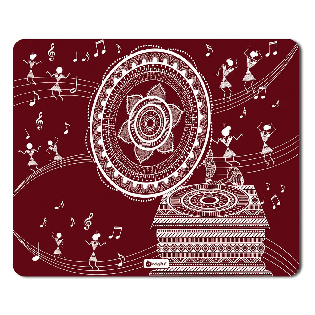 Indigifts Diwali Gift Items  Printed Maroon Mouse Pad  8.5x7 inches | Diwali Gift Items, Digital Print Items, Mousepad for Gift
