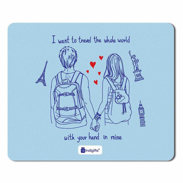 Romantic Young Couple Blue Mouse Pad