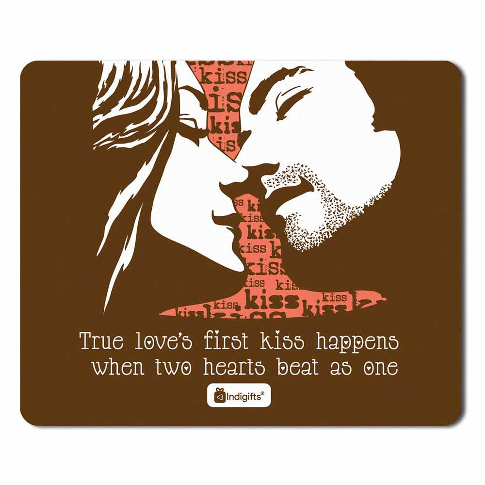 First Kiss Brown Mouse Pad