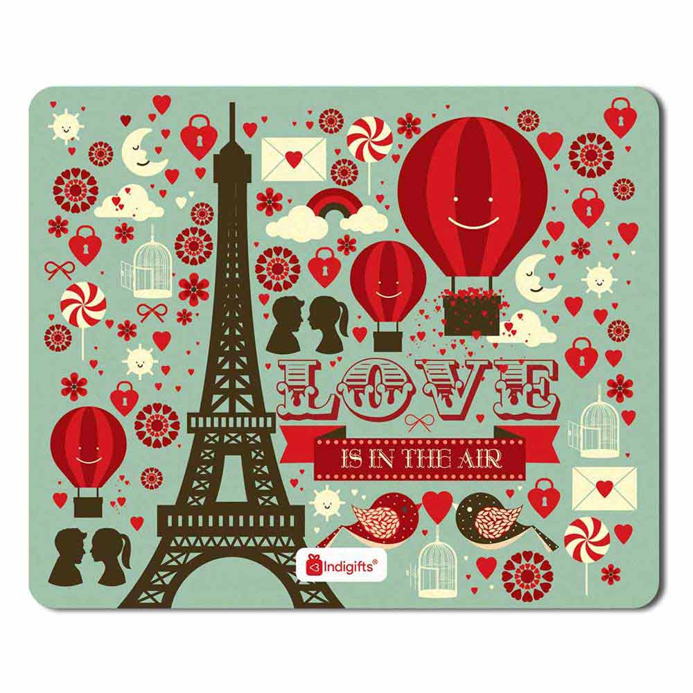 Indigifts Eiffel Tower, Love Birds Green Mouse Pad