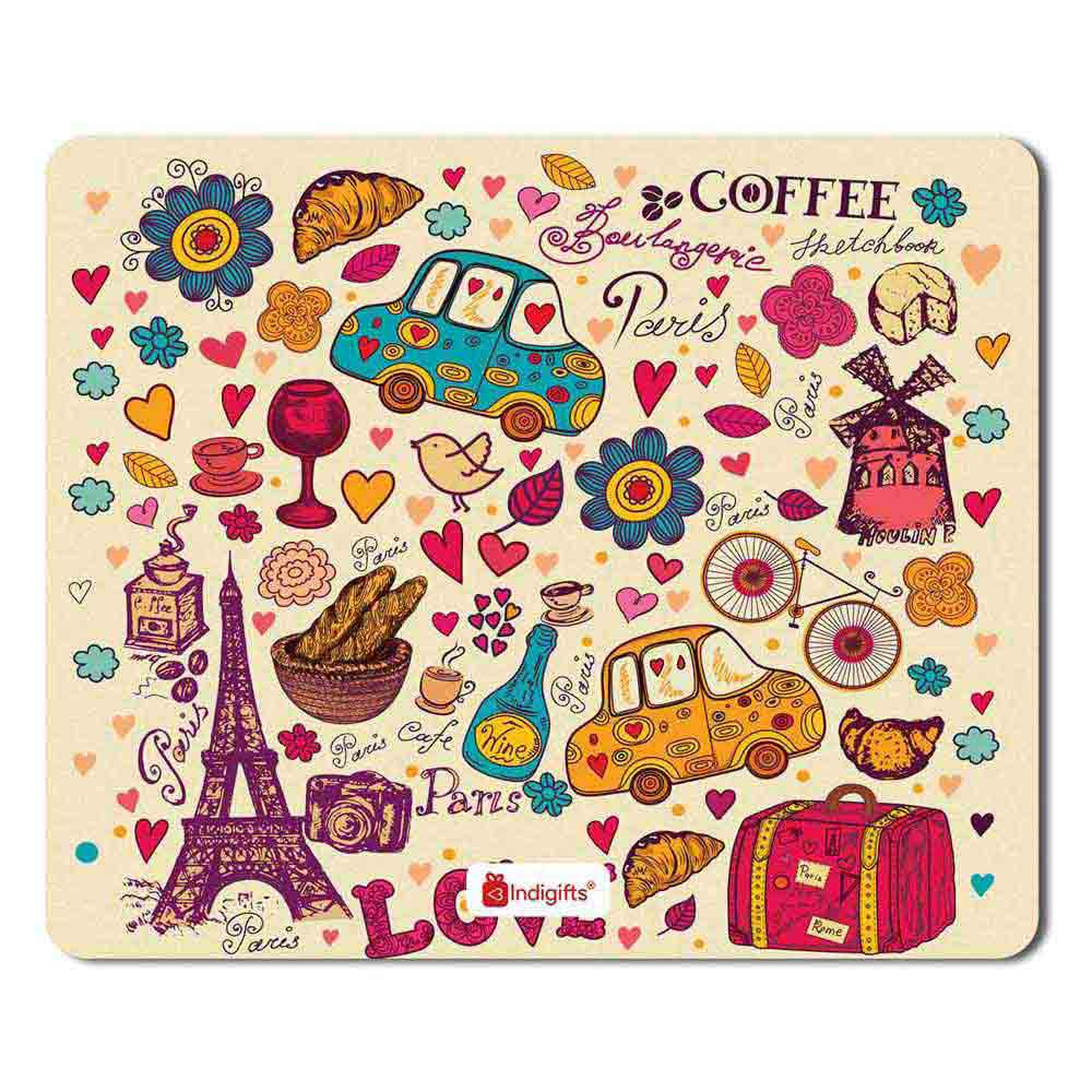 Indigifts Love Date Party Eiffel Tower Drinks Paris Beige Mouse Pad