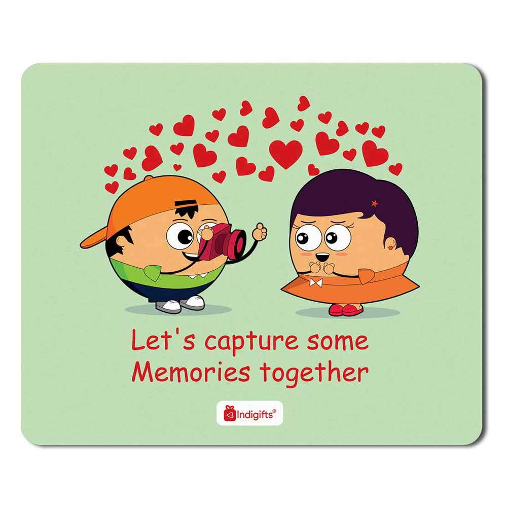 Cute Young Couple Taking Pictures White Mouse Pad