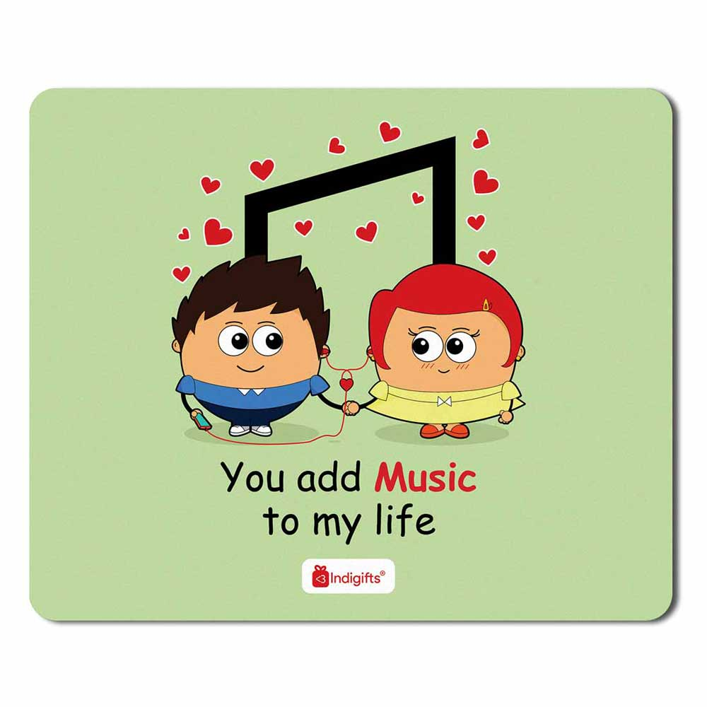 Romantic Couple Listening to Music Green Mouse Pad