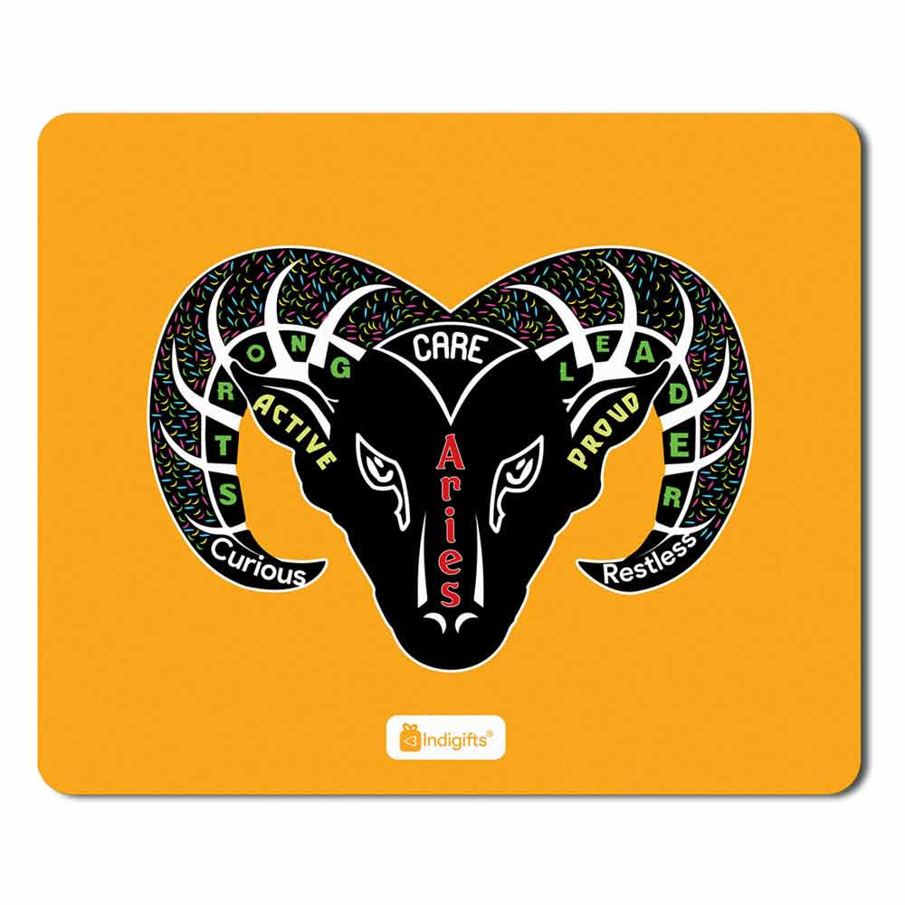 Indigifts Aries Zodiac Multicolor Mouse Pad