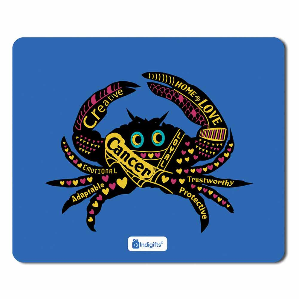 Cancer Zodiac Blue Mouse Pad - Indigifts - With Love