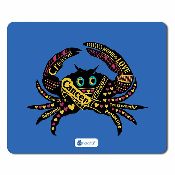 Indigifts Cancer Zodiac Blue Mouse Pad