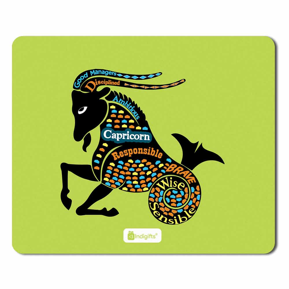 Capricorn Zodiac Green Mouse Pad - Indigifts - With Love