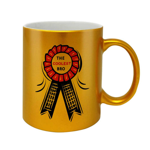 Reward Ribbon For Best Bro Artwork Golden Coffee Mug