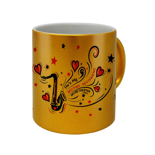 Saxophone Doodle Artwork Golden Coffee Mug