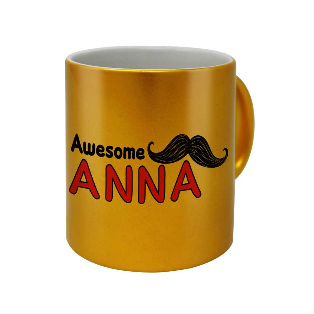 Moustache Typographic Artwork Golden Coffee Mug