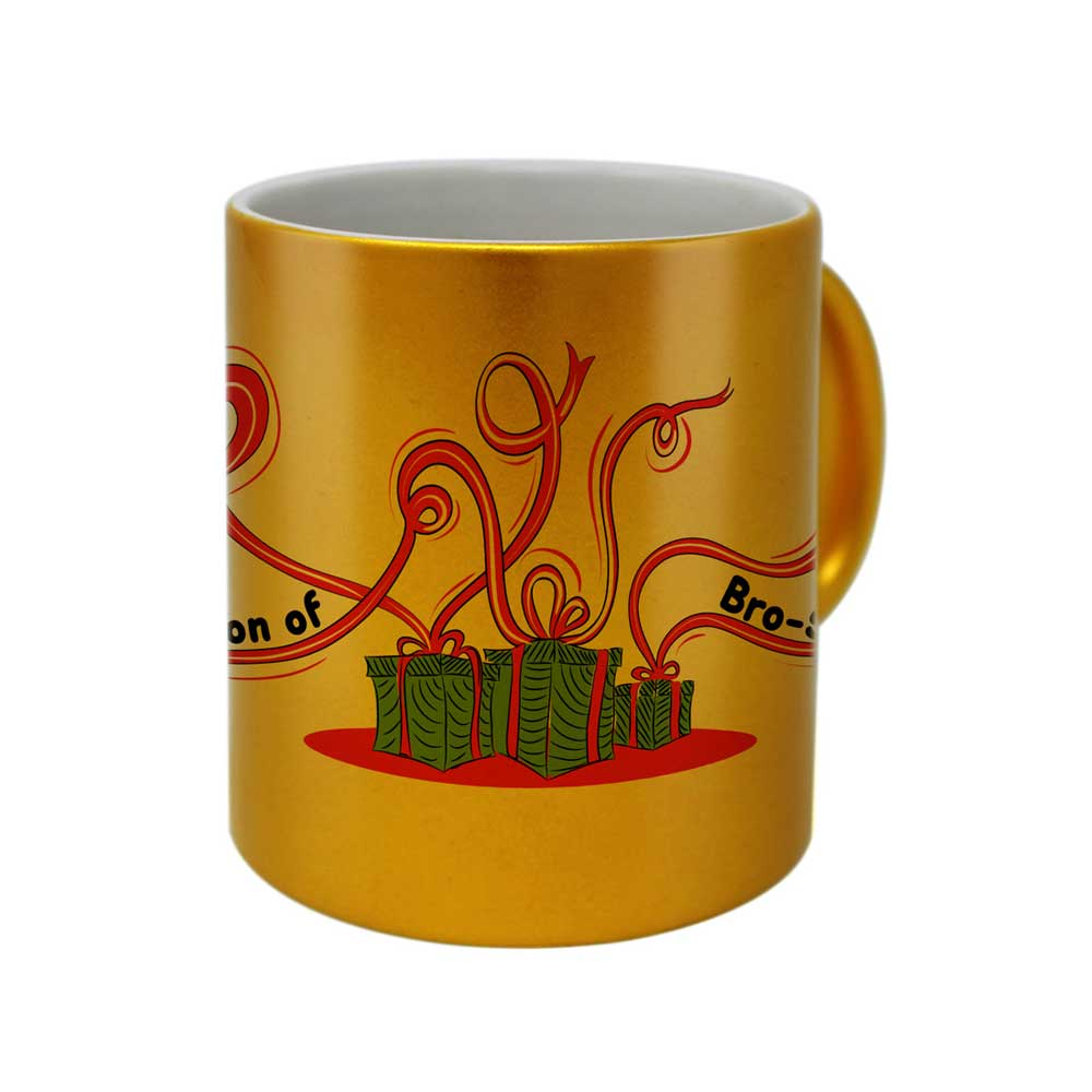 Delicate Ribbion Doodle Hand Illustration Golden Coffee Mug