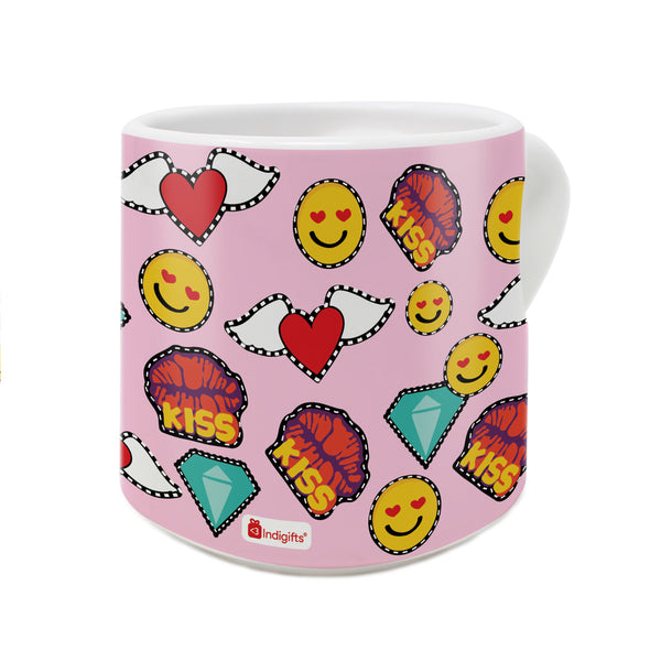 Pop Art Pattern with Various Love Emoticons Pink Heart Handle Mug