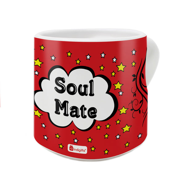 Soul Mate Quote Soul Mate Boldly Written Inside a Cloud with a Starry Backdrop Red Heart Handle Mug