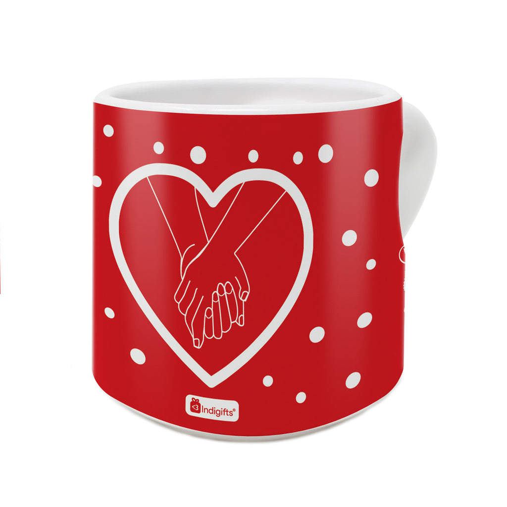 We Are So Good Together Quote Hands Holding Each Other Firmly Red Heart Handle Mug