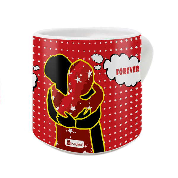Hold Me Forever Quote A Loving Couple Hugging Each Other Represnted In Pop Art Red Heart Handle Mug