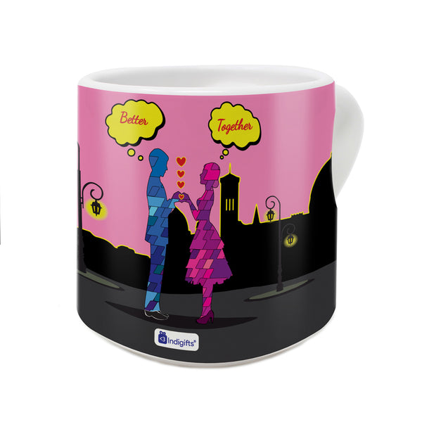 Night Scene with Couple Standing Creating Heart Shape Through Hands Multicolor Heart Handle Mug
