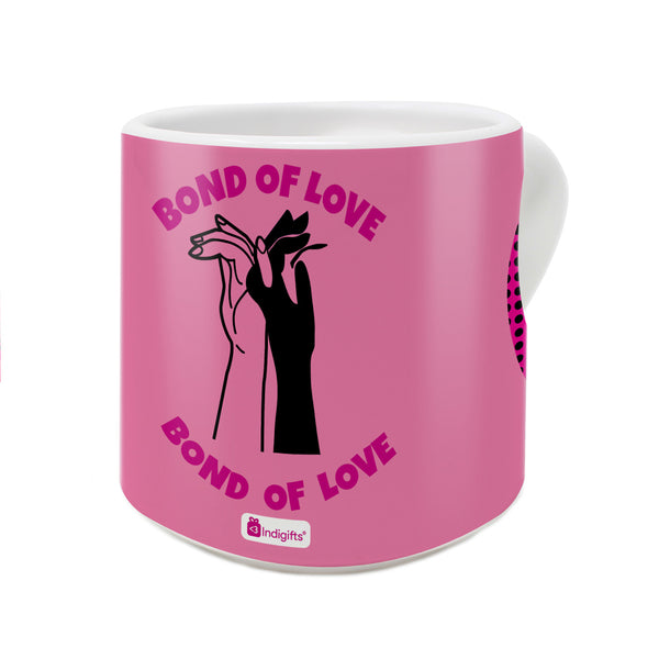 Bond of Love Quote Bond of Love Through Hands with Interlocked Fingers Pink Heart Handle Mug
