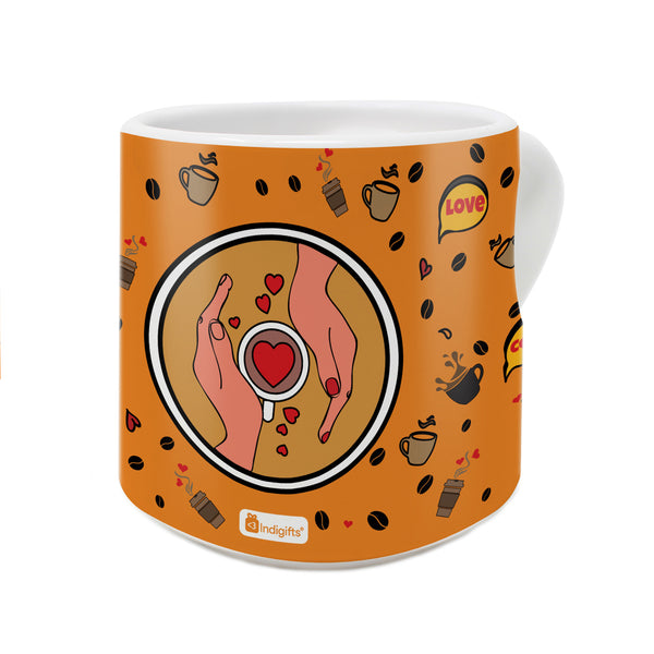 Coffee Love Quote Hands With A Cup of Coffee In Pop Art Coffee Pattern Orange Heart Handle Mug