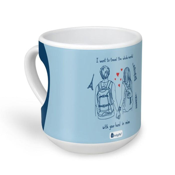 Romantic Young Couple Blue Heart Shape Coffee Mug