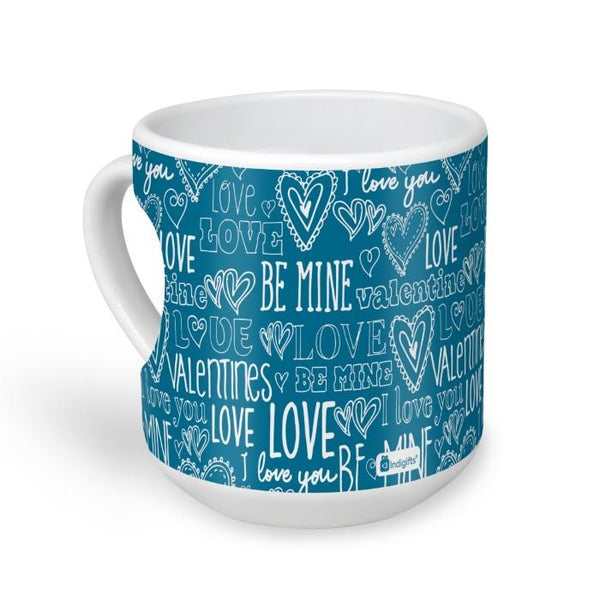 Love Expression Seamless Pattern Blue Heart Shape Coffee Mug