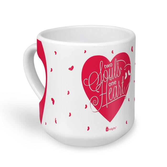 Indigifts Love Expression Inside heart White Heart Shape Coffee Mug