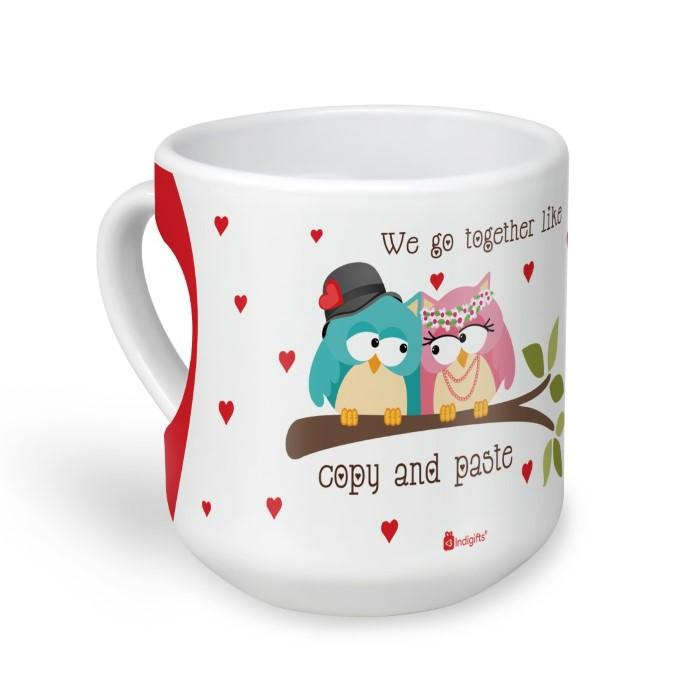 Indigifts Owl Couple Sitting On A Branch With Hearts White Heart Shape Coffee Mug