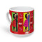 indigifts Love is Where You Are Quote Couple Holding Each Other Pop Art Box Pattern Multicolor Heart Shape Mug