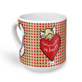indigifts Cupid Got Us Falling in Love Quote Cute Baby Cupid Behind a Huge Heart Brown Heart Shape Mug