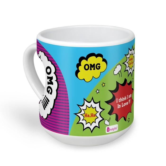 indigifts Omg ! I Am in Love Quote Crazy Popart Artwork of Various Moods of Excitement Multicolor Heart Mug