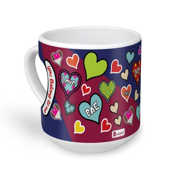 indigifts You Belong To Me Quote Bright Coloured and Textured Heart Pattern of Love Multicolor Heart Shape Mug