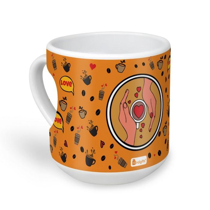 indigifts Coffee Love Quote Hands With A Cup of Coffee In Pop Art Coffee Pattern Orange Heart Shape Mug