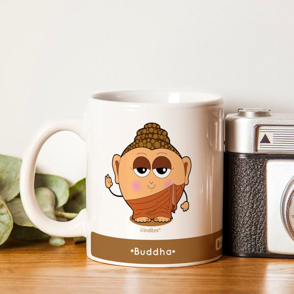 Diwali Gift Items Be like Buddha Printed Brown Coffee Mug 330 ml