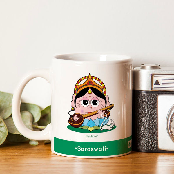 Diwali Gift For Family & Friends Be like Saraswati Printed Green Coffee Mug 330 ml
