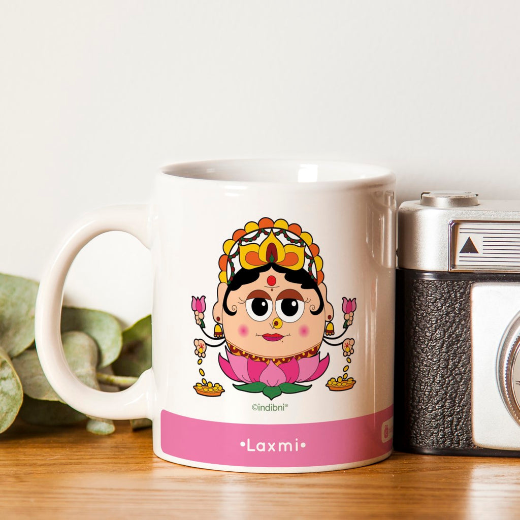 Indigifts Diwali Gift Ideas Be like Laxmi Printed Pink Coffee Mug