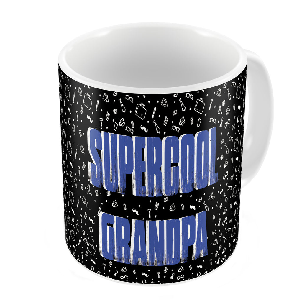 Supercool Grandpa Quote Seamless Pattern Black Coffee Mug