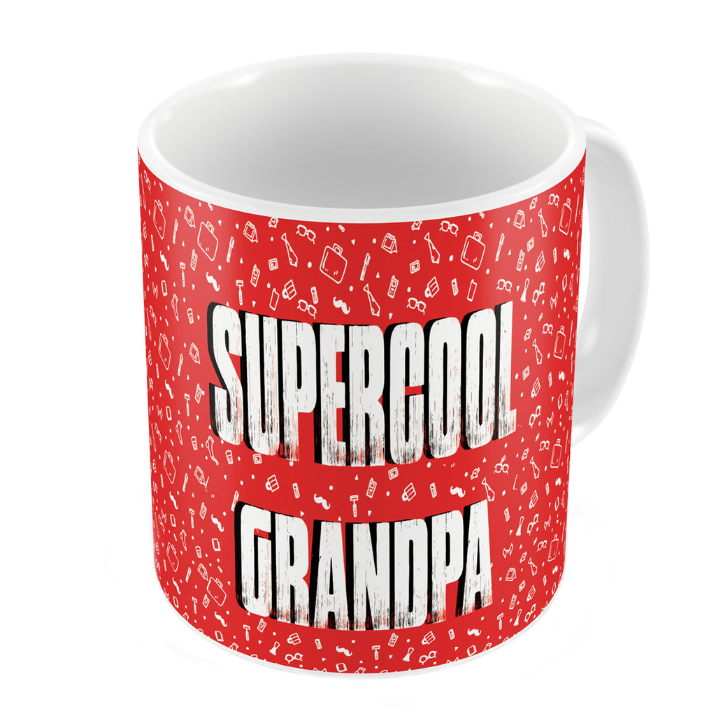 Indigifts Supercool Grandpa Quote Seamless Pattern Red Coffee Mug