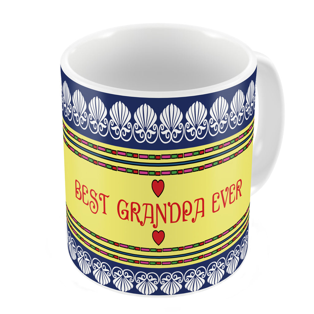 Indigifts Best Grandpa Ever Quote Traditional Folk Art Border Print Blue Coffee Mug