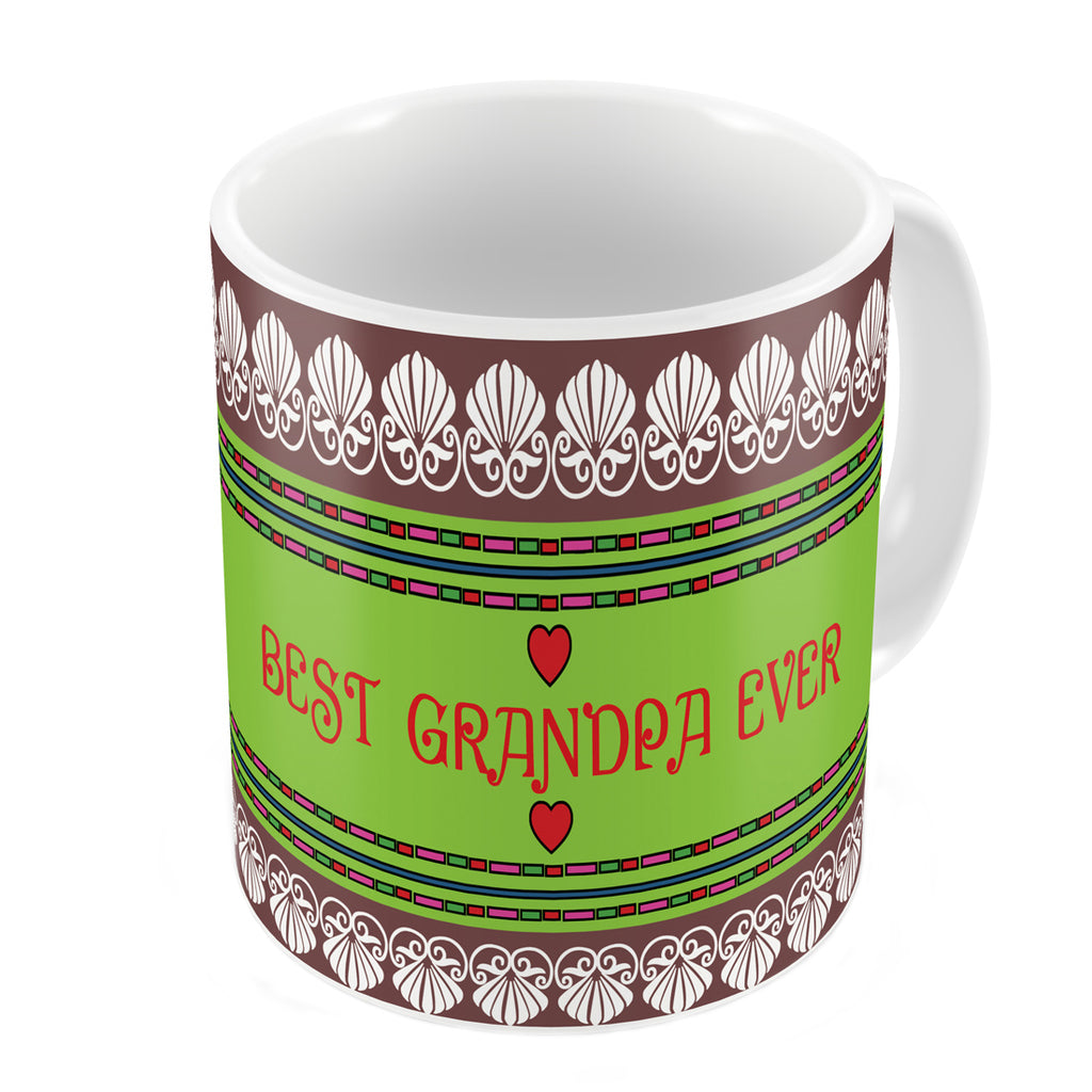 Best Grandpa Ever Quote Traditional Folk Art Border Print Brown Coffee Mug