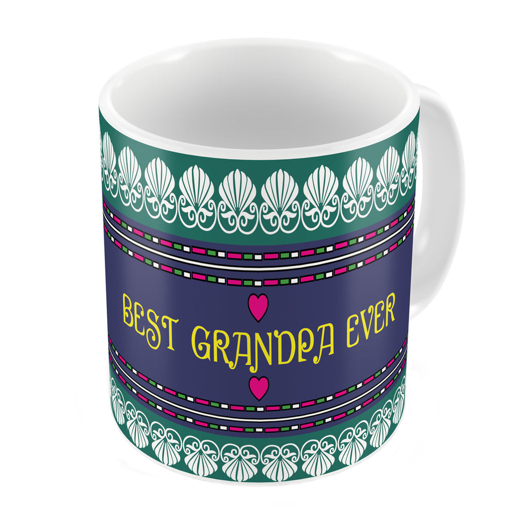 Indigifts Best Grandpa Ever Quote Traditional Folk Art Border Print Green Coffee Mug