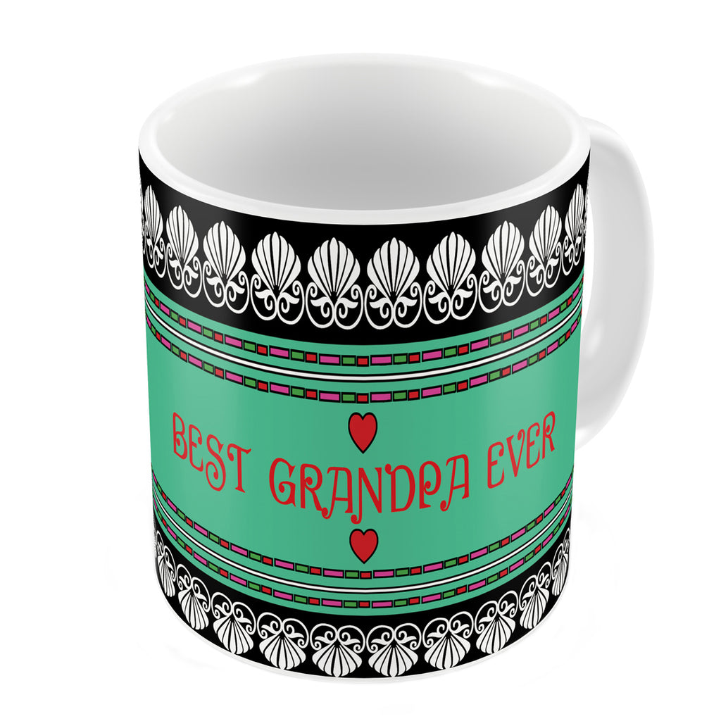 Best Grandpa Ever Quote Traditional Folk Art Border Print Black Coffee Mug
