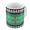 Indigifts Best Grandpa Ever Quote Traditional Folk Art Border Print Black Coffee Mug