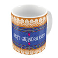 Indigifts Best Grandpa Ever Quote Traditional Folk Art Border Print Orange Coffee Mug